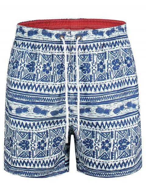 shop Pineapple Printed Swim Trunks - BLUE L Mobile