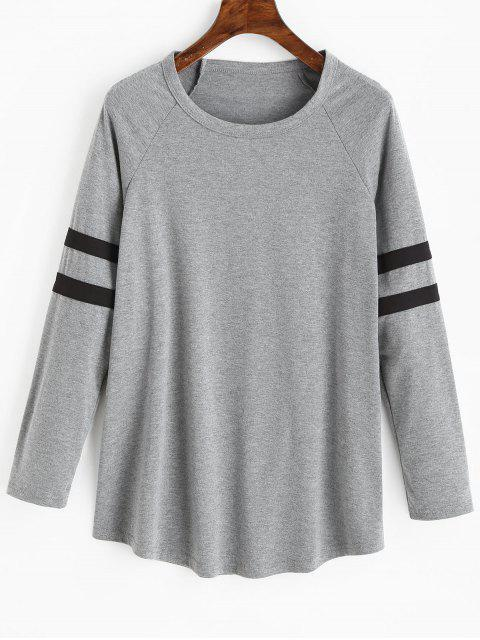 T-shirt Long Rayé à Manches Raglan - Gris XL Mobile