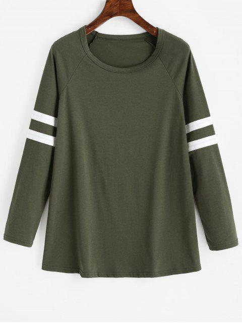 Camiseta raglán manga larga con rayas - Verde del ejército S Mobile