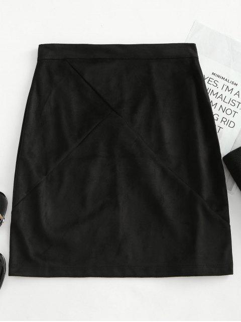 affordable Back Zipper Faux Suede Skirt - BLACK XL Mobile