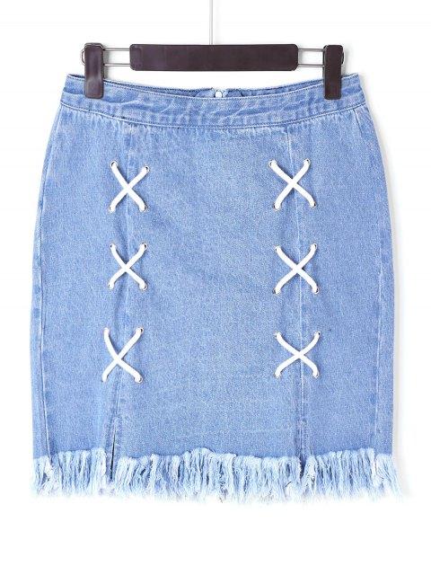 Falda deshilachada de encaje - Azul L Mobile