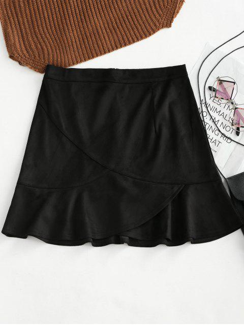 best Ruffle Hem Faux Suede Skirt - BLACK L Mobile