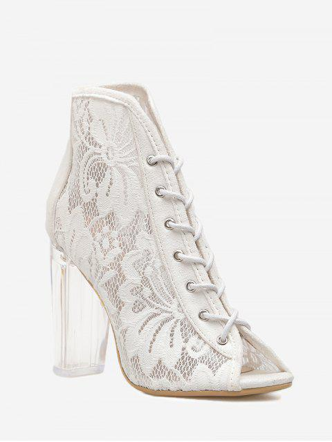 women Chunky Heel Lace Peep Toe Boots - WHITE 38 Mobile