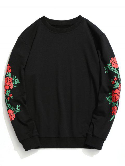 fancy Crew Neck Floral Print Pullover Sweatshirt - BLACK S Mobile