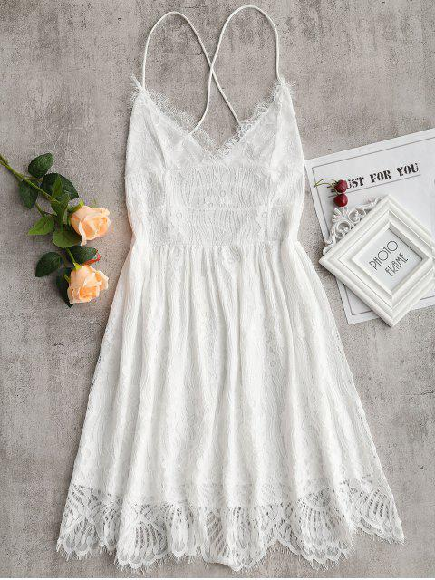 shops Lace Up Backless Cami Lace Dress - WHITE M Mobile