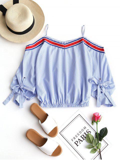 Blusa Cami a cuadros con hombros fríos - Azul Claro XL Mobile