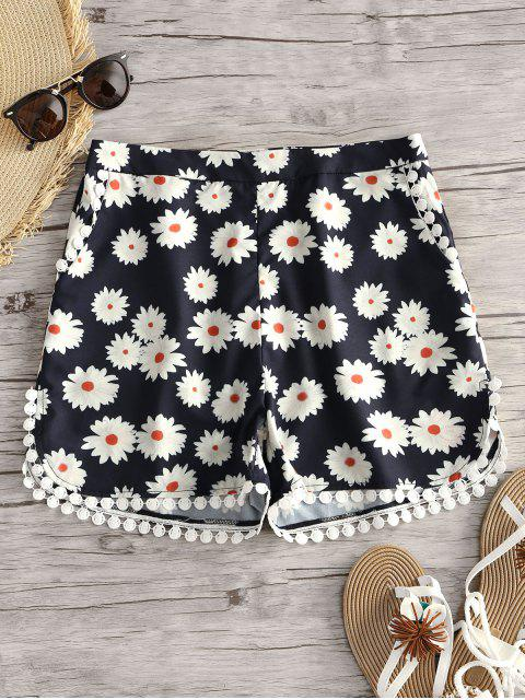 affordable Floral Print Crochet Trim Shorts - FLORAL S Mobile