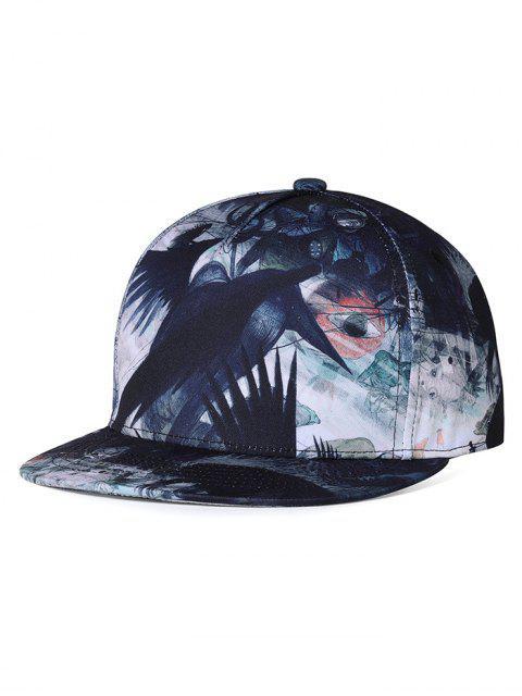 Gorra de béisbol de borde plano de patrón de cuervo único - Blanco y Negro  Mobile