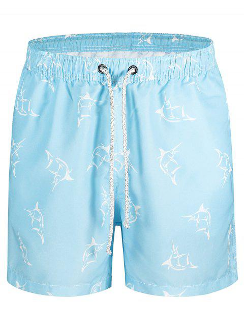 online Fish Print Swim Trunks - AZURE XL Mobile