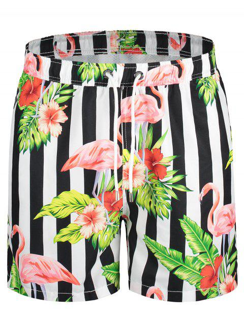 womens Drawstring Striped Floral Swim Trunks - COLORMIX L Mobile