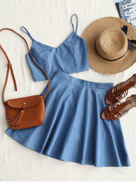 Smoked Crop Cami Top y conjunto de falda - Denim Blue S Mobile