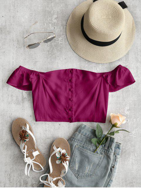 fancy Off The Shoulder Crop Top - PURPLISH RED S Mobile