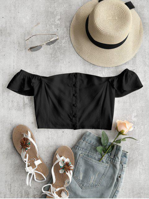 trendy Off The Shoulder Crop Top - BLACK S Mobile