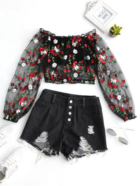 Mesh Floral Gestickte Denim Shorts Set - Schwarz L Mobile