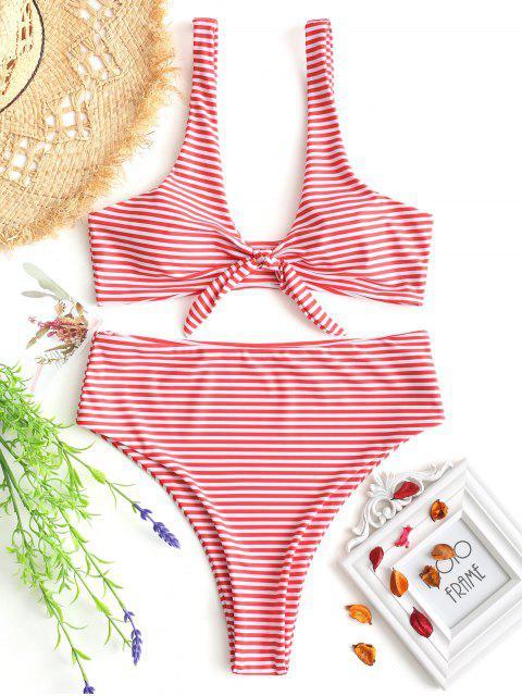 Conjunto de bikini de rayas anudadas a rayas - ROJO CON BLANCO S Mobile