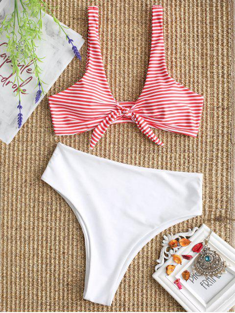 best Knotted Striped Bikini Bra and High Cut Bottoms - WHITE L Mobile