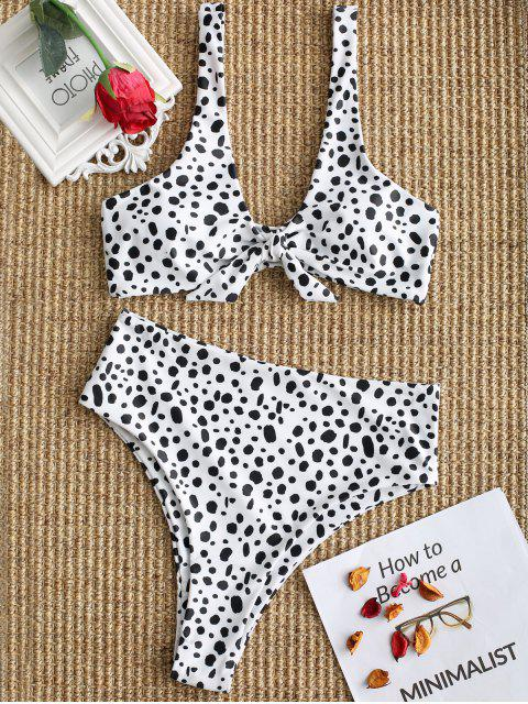 ladies Speckled Knotted High Cut Bikini Set - WHITE M Mobile