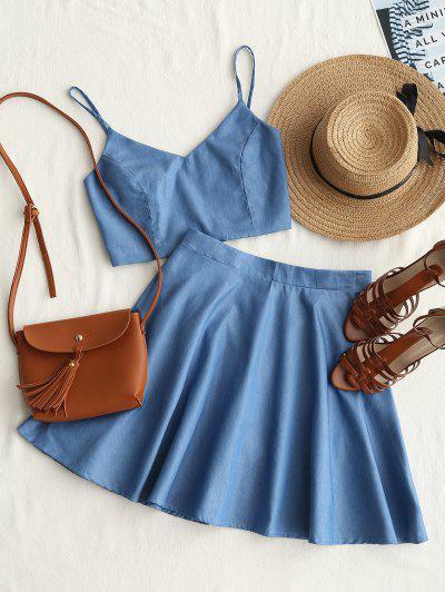 Smocked Crop Cami Top And Skirt Set - Denim Blue M