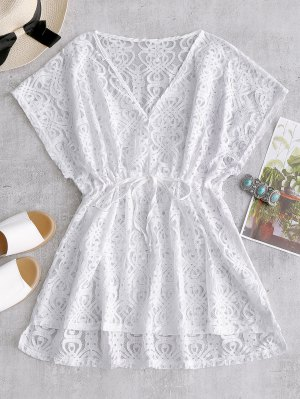 Drawstring Lace Cover-up Dress - Branco