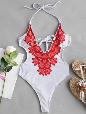 Floral Halter Monokini - Branco S