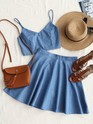 Smocked Crop Cami Top And Skirt Set - Denim Blue S