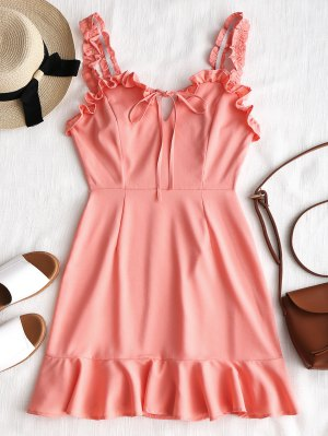 Drawstring Back Zipper Ruffles Mini Dress - Pink M