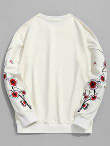Sweatshirt Bordado Blossom L Crema De Cristal Plum 5qTPwFg