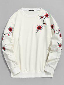 De Bordado Sweatshirt Blossom Plum L Crema Cristal AIUw8qB