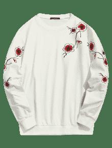 Cristal Crema L Plum Sweatshirt Blossom De Bordado w1AgqO