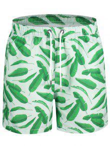 شورت سباحة مزين بطبعة أوراق الأشجار - أخضر 2xl