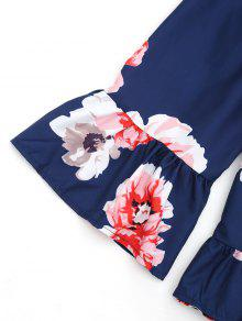Volantes Hombro La M Azul Florales Del Profundo De Blusa 7wrnAR7q