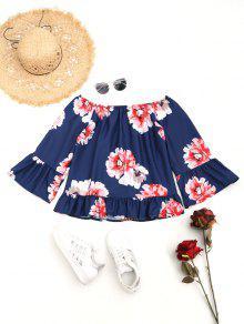 M Blusa Del Volantes Florales De Profundo La Hombro Azul Px8Cw