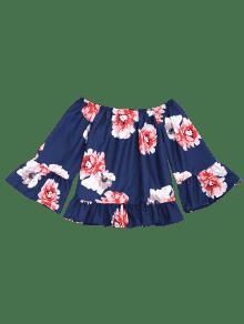Florales Blusa De Azul Del M La Volantes Profundo Hombro ZnOwxpdvq