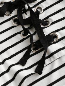 A Descubiertos Rayas Vestido Y Cordones S Rayas Negras Hombros Con pd1UUwqS