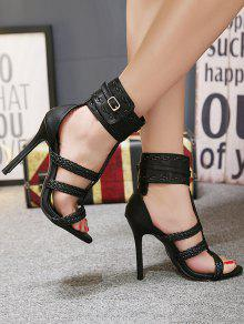 Ankle Wrap Weave High Heel Sandals