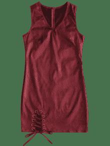 Vino V En Encaje Vestido Cuello Rojo De Sin Con M Mangas w6PZx81Hq