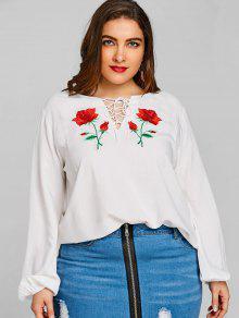 Floral Blanco Blusa Redondo Cuello Con Xl Bordada pwzqfA5