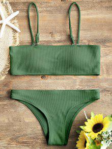 fd1d9600ece3e 26% OFF] [HOT] 2019 Ribbed Texture Bandeau Bikini Set In GREEN | ZAFUL