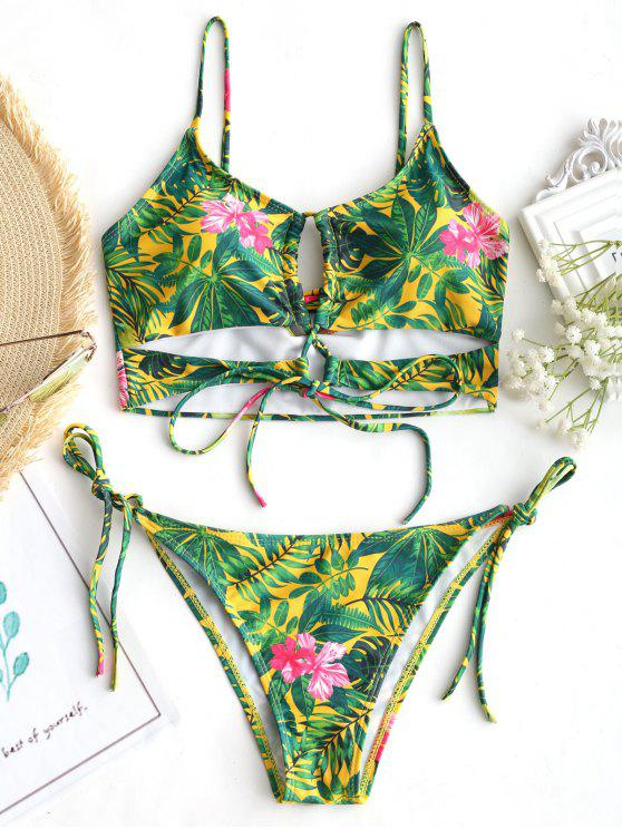 unique Lace Up Leaf Print String Bikini Set - FLORAL S