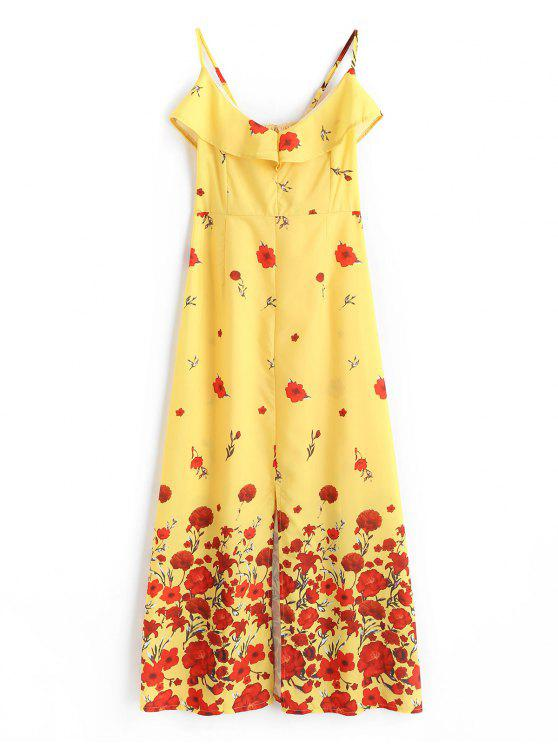 women's Floral Print Ruffles Slit Cami Dress - YELLOW L