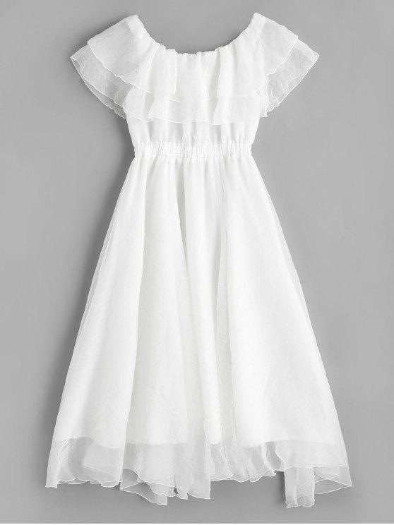 ladies Off Shoulder Tiered Flounce Dress - WHITE XL