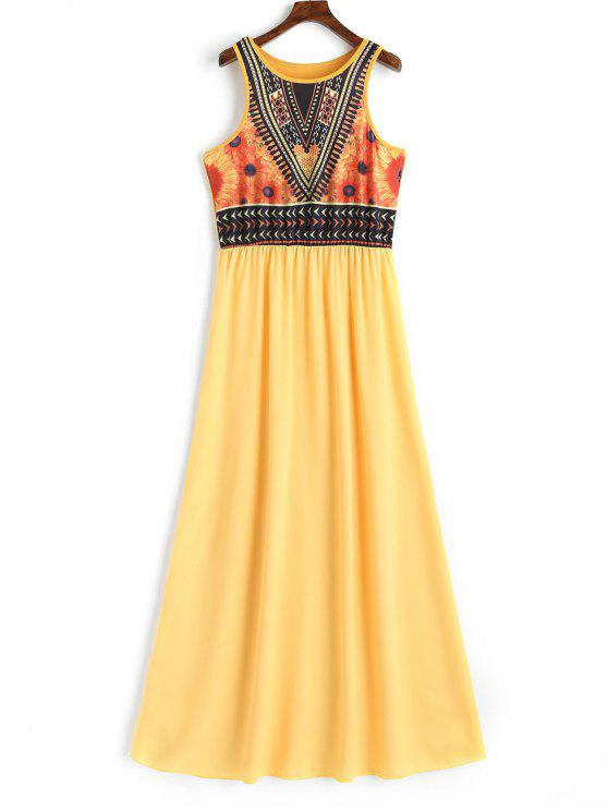 latest Floral Print Sleeveless Bohemian Dress - YELLOW M