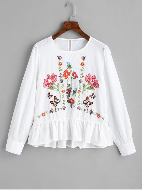 unique Ruffles Embroidered Blouse - WHITE M