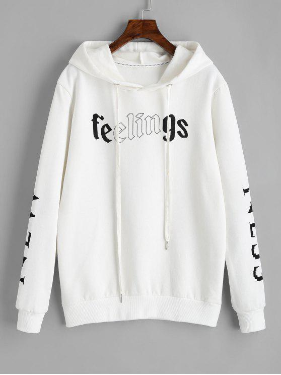 Hoodie do logotipo da letra Drawstring - Branco L