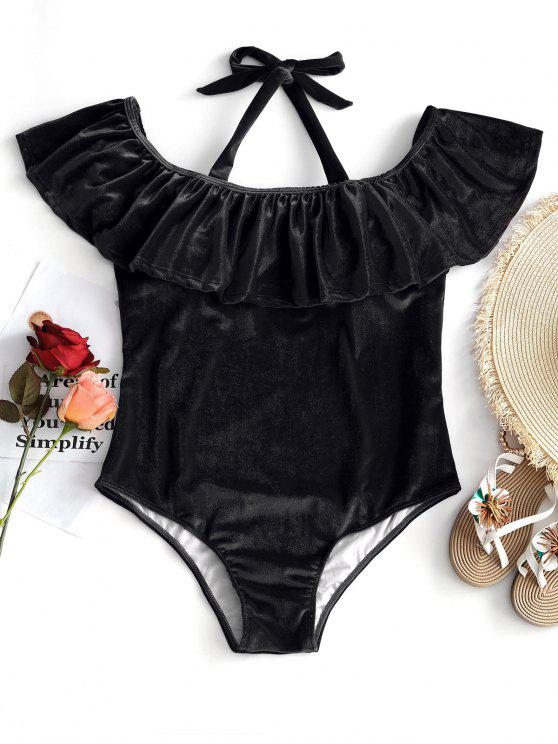 chic Ruffle Velvet Plus Size Swimsuit - BLACK 2XL