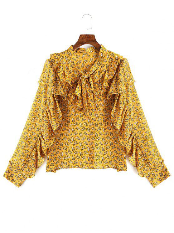 women Bow Tied Ruffle Floral Blouse - YELLOW ONE SIZE