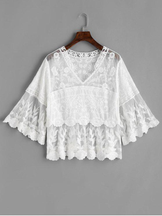 best Mesh Panel Floral Lacework Blouse - WHITE ONE SIZE