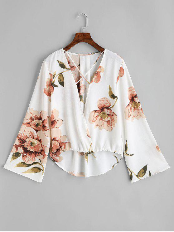 online Floral Criss Cross High Low Blouse - WHITE L