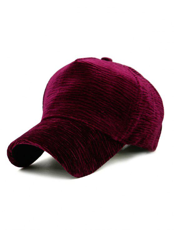 hot Unique Solid Color Striped Pattern Baseball Cap - WINE RED