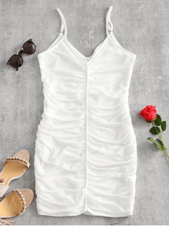 Robe Moulante Drapée à Bretelles en Tulle - Blanc M